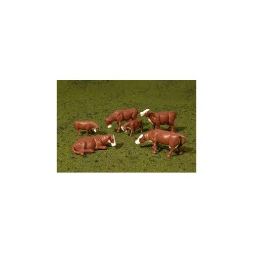 HO Scale Cows, Brown & White - 33102