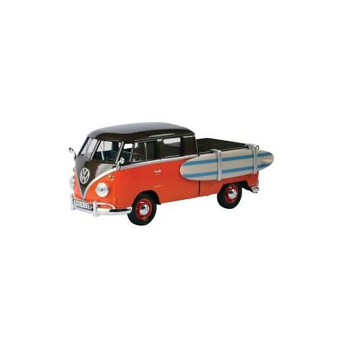 1:24 Volkswagen Type 2 (T1) Pickup Orange/Brown w/Surfboard - 79560