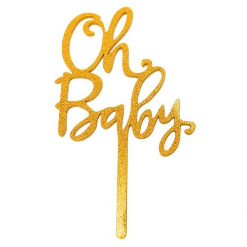 Gold Cake Topper Oh Baby